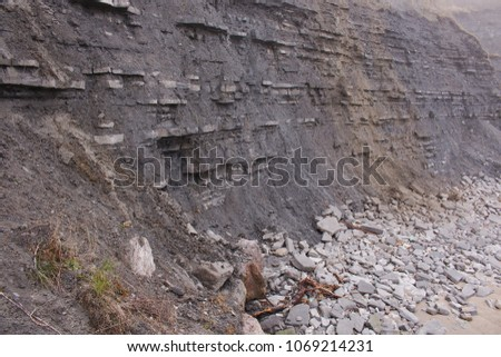 Rock strata of the Dorset coast, clearly showing the different layers of sediment. #1069214231