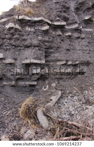 Rock strata of the Dorset coast, clearly showing the different layers of sediment. #1069214237