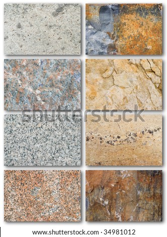 Rock texture surface, list of different types