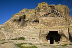 Rock tomb with lion reliefs of Phrygia, Afyon Turkey