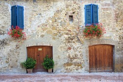 rock wall style with windown and door in Italy