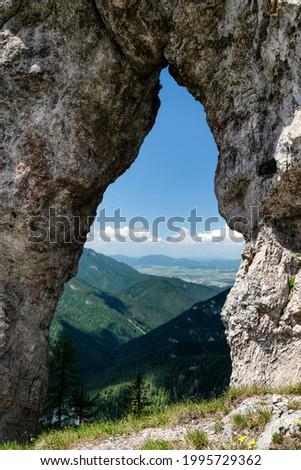 Rock window called Janosikovo okno under hill Ohniste in Low Tatras mountains at Slovakia Zdjęcia stock ©
