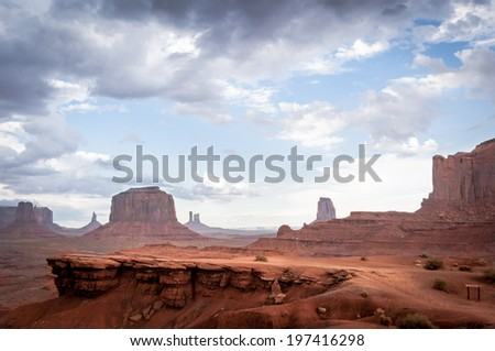 rock without horse in Monument Valley. The famous western sandstone formation in Monument Valley during sunset before thunder.