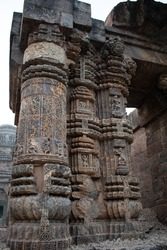 Rockcut sculpture in the form of intricate patterns and interlacing ornate carvings