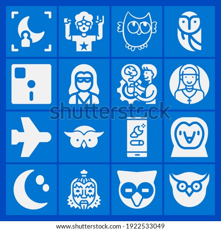 Rocker, floppy diskette, airplane mode, owl, night mode, owl night creature, head owl, wisdom icon set suitable for info graphics, websites and print media and interfaces Stock photo ©
