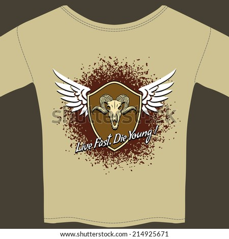 Rocker tee shirt with winged shield template