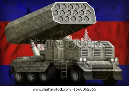 rocket artillery, missile launcher with grey camouflage on the Cambodia flag background. 3d Illustration