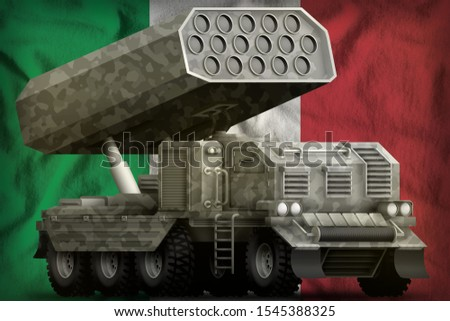 rocket artillery, missile launcher with grey camouflage on the Italy flag background. 3d Illustration