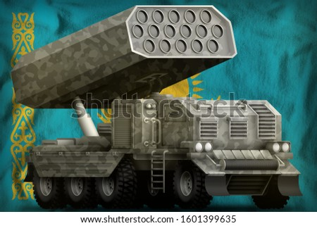 rocket artillery, missile launcher with grey camouflage on the Kazakhstan flag background. 3d Illustration
