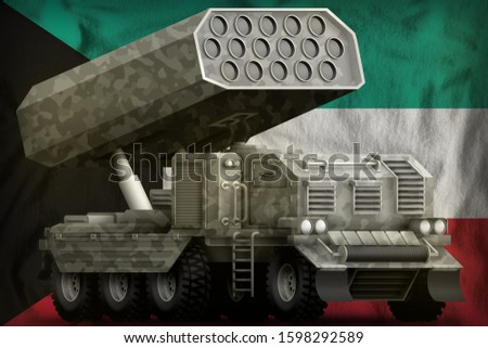 rocket artillery, missile launcher with grey camouflage on the Kuwait flag background. 3d Illustration