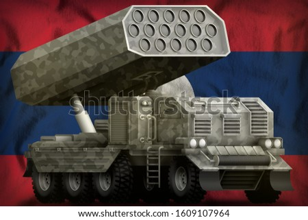 rocket artillery, missile launcher with grey camouflage on the Lao People Democratic Republic flag background. 3d Illustration
