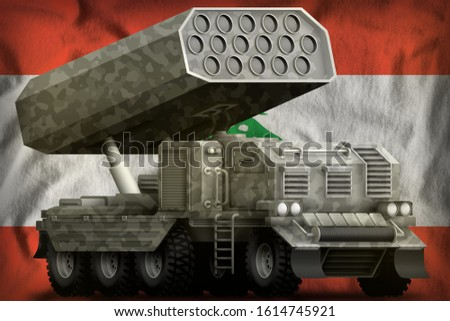 rocket artillery, missile launcher with grey camouflage on the Lebanon flag background. 3d Illustration