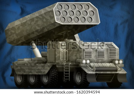 rocket artillery, missile launcher with grey camouflage on the Saint Lucia flag background. 3d Illustration