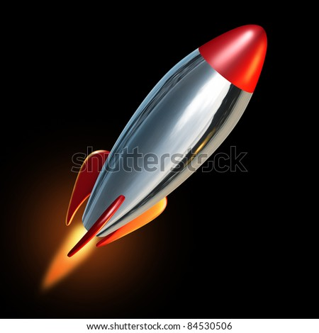 Rocket blast off into black space with a flame propelling the metal missile upward and beyond to explore new opportunities.