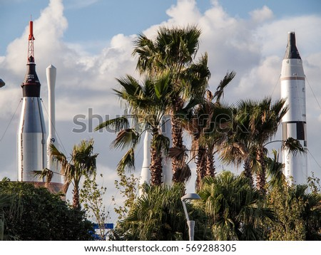 Rocket Garden surrounded by Palm Trees at Cape Canaveral, Florida USA