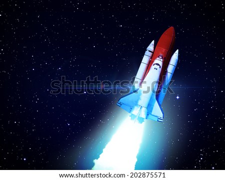 Rocket in Space - Elements of this Image Furnished By NASA