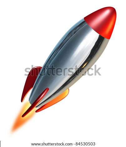 Rocket launch blast off representing a symbol of exploration and power from a metal missile spacecraft thrusting upwards into space with a combustion flame.