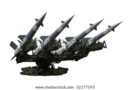 Rocket launcher with four missiles isolated