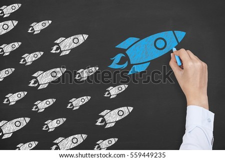 Rocket Leadership Concept on Blackboard #559449235