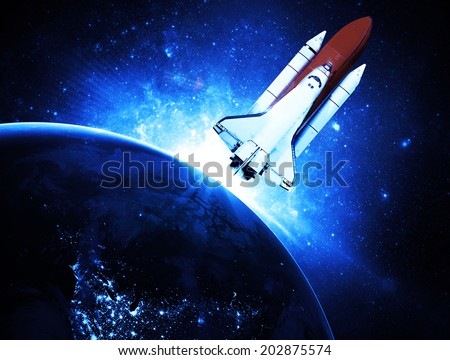 Rocket Leaving Earth Elements of this Image Furnished By NASA