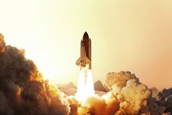 Rocket liftoff. Space shuttle take off on red planer Mars. Rocket launch into sky