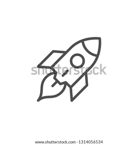 Rocket line icon isolated on white