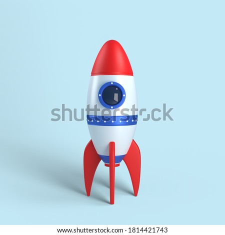 Rocket on blue background, 3D rendering. Stockfoto ©