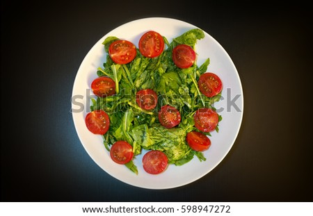 Rocket Salad And Cherry Tomatoes Stok fotoğraf ©