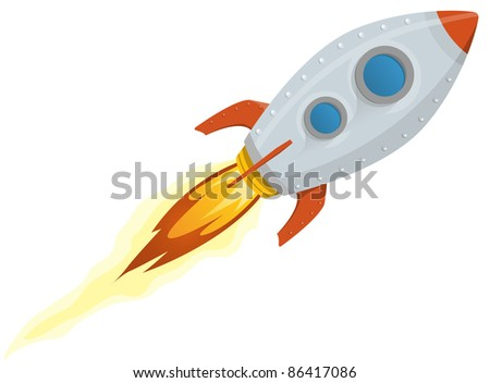 Rocket Ship/ Illustration of a rocket ship space vehicle blasting off into the sky