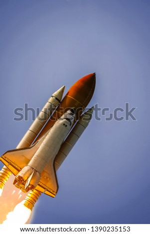 Rocket space craft. The elements of this image furnished by NASA.