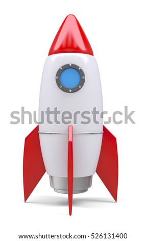 Rocket space ship, isolated on white. 3D rendering