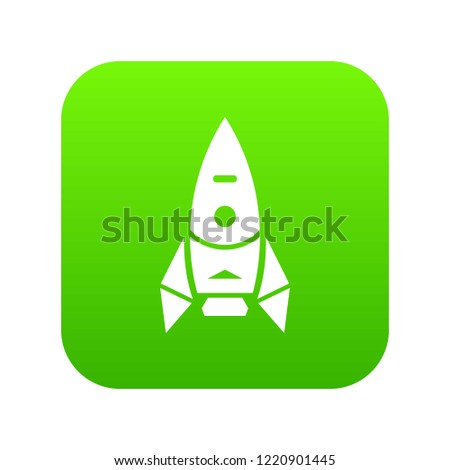 Rocket spacecraft icon green isolated on white background