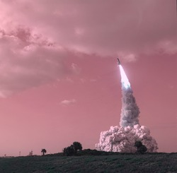 Rocket takes off the earth. Infrared filte. Danger concept. Elements furnished by NASA.