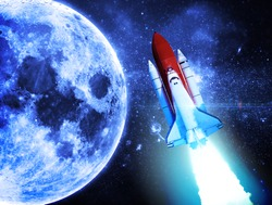 Rocket to the Moon - Elements of this Image Furnished by NASA