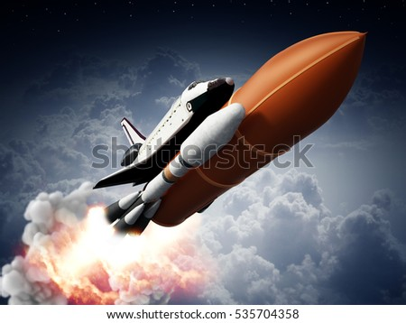 Rockets carrying space shuttle launches off. 3D illustration.