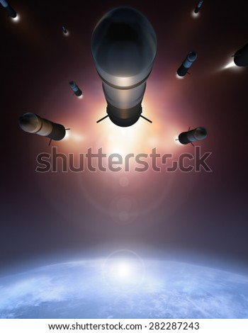 Rockets in the space over Earth