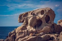 Rockface that looks like a face in Santa Teresa, Sardinia.