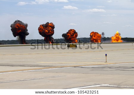 ROCKFORD, IL - JUNE 3: Harrier airplane demonstrates airstrike at the annual Rockford Airfest on June 3, 2012 in Rockford, IL