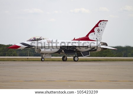 ROCKFORD, IL - JUNE 3: U.S. Air Force Thunderbirds fighter jet in preparation to takeoff at the annual Rockford Airfest on June 3, 2012 in Rockford, IL
