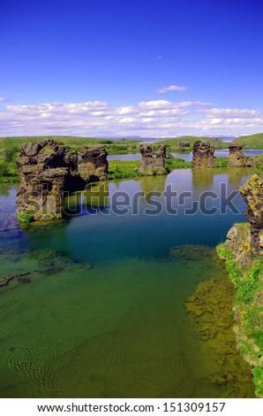 Rockformations at lake myvatn - Shutterstock ID 151309157