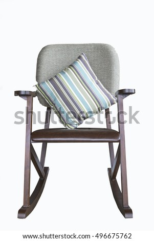 Rocking chair with modern pillows isolated white background #496675762