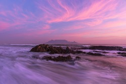 Rockpool Pink sunset long exposure Table Mountain