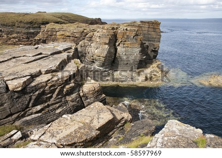 Rocks and cliffs at Orkney islands, Scotland