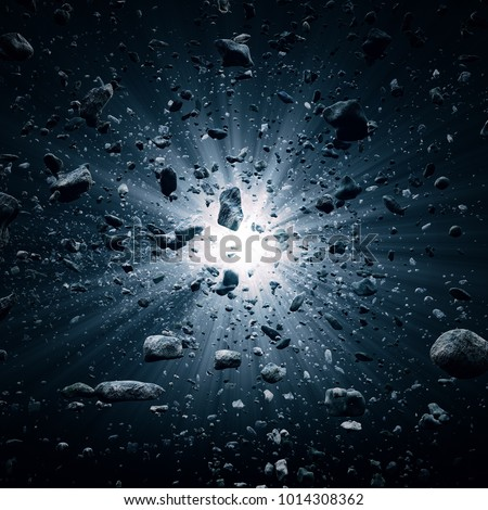 Rocks and debris flying through space after a huge big bang explosion (3D render)