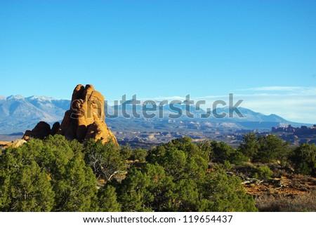 Rocks and Manti La Sal Mountains, Arches National Park, Utah