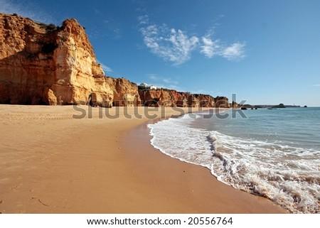 Rocks and ocean at Praia da Rocha in Portugal