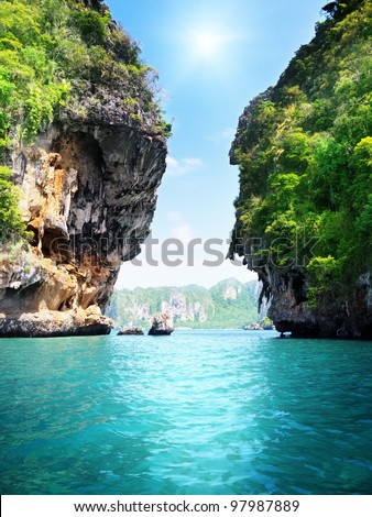 rocks and sea in Krabi Thailand - stock photo