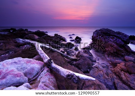 Rocks and sea in sunset