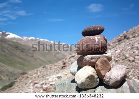 Rocks balancing, Cairns, Rocks kept over rocks, stack, rock stack on trekking trail, trekking trail, remote trekking trail #1336348232