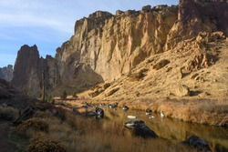 Rocks in a beautiful, beautiful canyon, desert river, Smith Rock State Park
